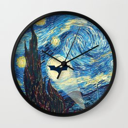Starry Night Heroes Wall Clock