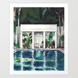 Pool House California Summer Palm Trees Beverly Hills Malibu Art Print