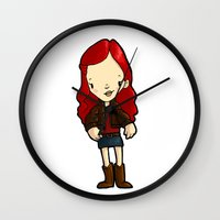 amy hamilton Wall Clocks featuring AMY by Space Bat designs
