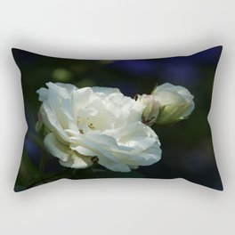 White Roses with hints of blue in the background STUNNING Photograph Rectangular Pillow