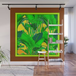 COFFEE BROWN TROPICAL GREEN & GOLD FOLIAGE ART Wall Mural