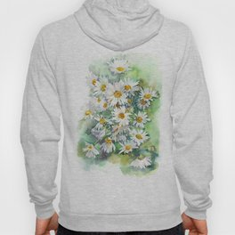 Watercolor chamomile white flowers Hoody