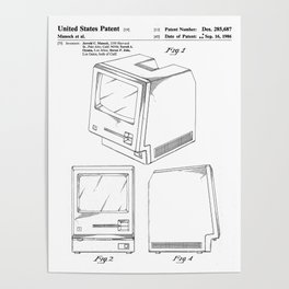 Apple Macintosh Patent - Apple Art - Black And White Poster