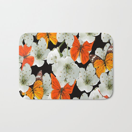 Cherry flowers and colorful butterflies on a black background Bath Mat