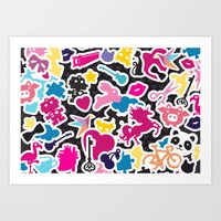 sticker Art Prints featuring Sticker Frenzy by XOOXOO