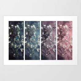 Vincent Van Gogh Almond Blossoms Panel Dark Pink Eggplant Teal Art Print