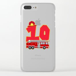 10th Birthday Fireman Firefighter Fire Truck Gift Clear iPhone Case