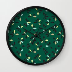 loves me loves me not pattern - hunter green Wall Clock