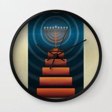 Art Deco Hanukkah Menorah Wall Clock