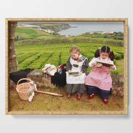 Children playing outside Serving Tray