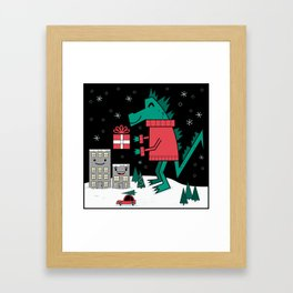 Kaiju Christmas Framed Art Print