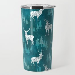 Ice Forest Deer Turquoise Travel Mug