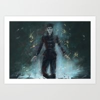 """dishonored Art Prints featuring """"The Outsider"""" Dishonored by Alba Palacio"""