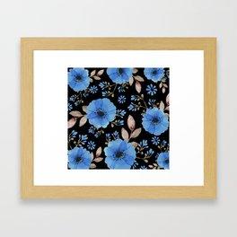 Blue flowers with black Framed Art Print