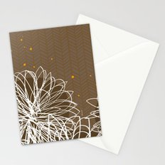Brown Doodle Floral by Friztin Stationery Cards