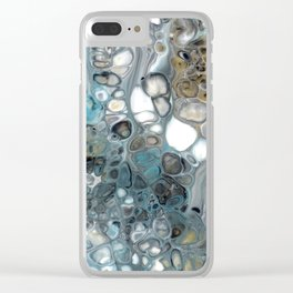 Turquoise Grey White Bronze Black Lava Flow Cells Clear iPhone Case