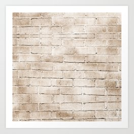 coffee brown distressed painted brick wall ambient decor rustic brick effect Art Print