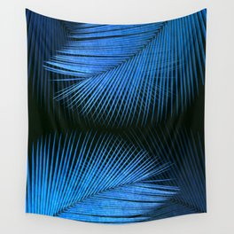 Palm leaf synchronicity - metallic blue Wall Tapestry