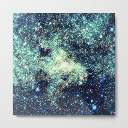 gAlAxY Stars Teal Turquoise Blue Metal Print