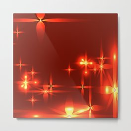 Bloody background with shining light metal stars. Metal Print