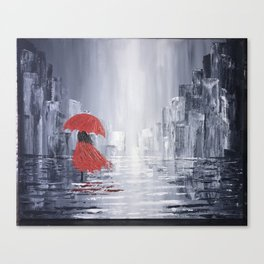 Abstract Art Print on Canvas Girl in Red Dress/City Landscape 16X20 Unframed Canvas Print