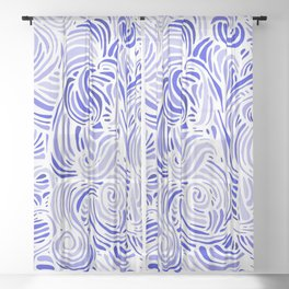 Blue and White Abstract Pattern Sheer Curtain