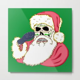 Bad Santa Sugar Skull Metal Print
