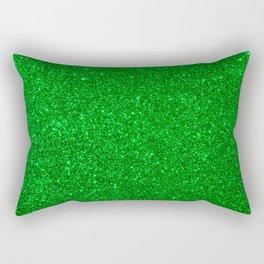 Emerald Green Shiny Metallic Glitter Rectangular Pillow