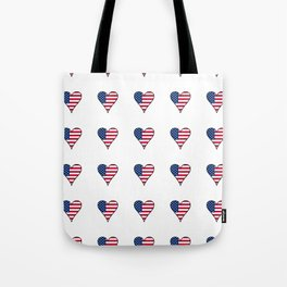 Flag of Usa in a Heart- america,us,united states,american,new york,hollywood,spangled,star and strip Tote Bag