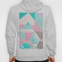 Artistic abstract pink teal geometric stripes Hoody
