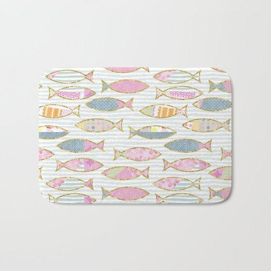 Fancy Fish pastel patchwork pattern Bath Mat