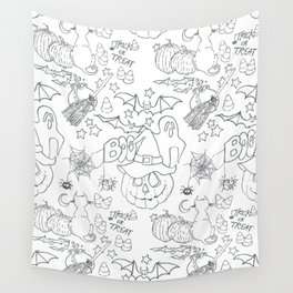 Halloween pattern in black and white Wall Tapestry