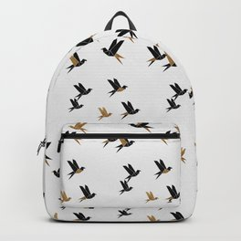 Origami Birds Collage I, Gold and Black Backpack