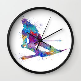 Boy Skiing 2 Winter Sports Colorful Watercolor Art Gift Wall Clock