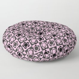 RETRO FLOWER - PINK AND BLACK Floor Pillow