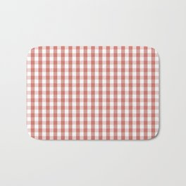 Camellia Pink and White Gingham Check Plaid Bath Mat