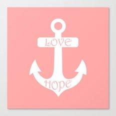 Anchor Coral Pink Canvas Print