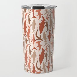 Swimming with Sharks in Coral and Brown Travel Mug