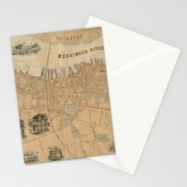 Vintage Map of Newburyport MA (1851) Stationery Cards