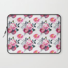 Hand painted blush pink gray yellow watercolor roses pattern Laptop Sleeve