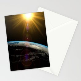 earth sun and moon Stationery Cards