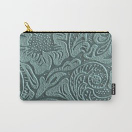 Sagey Teal Tooled Leather Carry-All Pouch