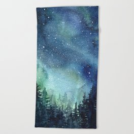 Galaxy Watercolor Aurora Borealis Painting Beach Towel