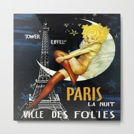 Paris at Night Vintage Poster Metal Print