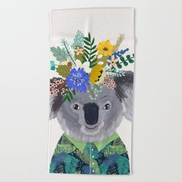 Koala with flowers on head Beach Towel