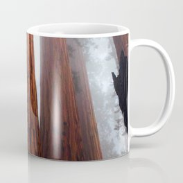 Misty Foggy Minimalist Landscape Photography Tall Redwood Trees Coffee Mug