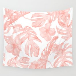 Tropical Palm Leaves Hibiscus Flowers Coral Pink Wall Tapestry