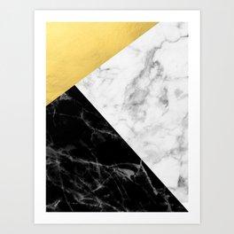 Marble & Gold Collage Kunstdrucke