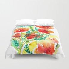 Orange Flowers Watercolor Duvet Cover