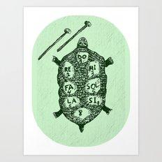 Turtle on Green Art Print